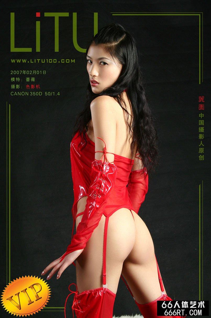 超模蔷薇07年2月1日棚拍火红情趣内裤